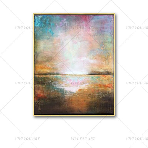 100% Hand Painted Color View Shine Abstract Painting  Modern Art Picture For Living Room Modern Cuadros Canvas Art High Quality