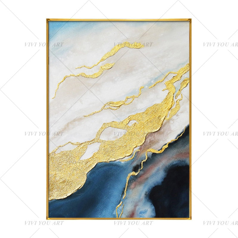 100% Hand Painted Modern Yellow Blue Water Canvas Painting Picture 100% Handmade Painting for Living Room Wall Art Decoration Bedroom Home Decor