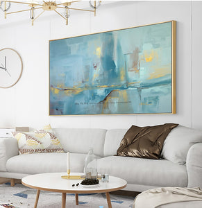 Abstract modern canvas wall art handmade contemporary famous artwork blue oil painting on canvas for livincag room decoration - SallyHomey Life's Beautiful
