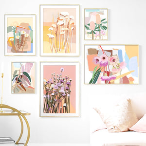Abstract Leaves Collage Flower Nursery Wall Art Canvas Painting Nordic Posters And Prints Wall Pictures For Living Room Decor - SallyHomey Life's Beautiful