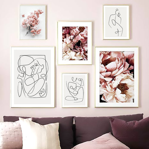 Abstract Geometric Girl Lines Rose Flower Wall Art Canvas Painting Nordic Posters And Prints Wall Pictures For Living Room Decor - SallyHomey Life's Beautiful