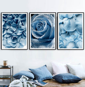 Blue Dandelion Rose Leaf Sea Quote Wall Art Canvas Painting Nordic Posters And Prints Plant Wall Pictures For Living Room Decor - SallyHomey Life's Beautiful