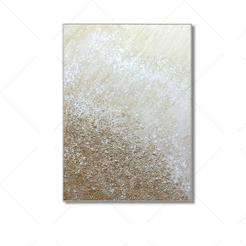 100% Hand Painted  White  Sandy Gray Abstract Dreamlike Shading Method Oil Painting Canvas Handmade Painted Home Decor Artwork