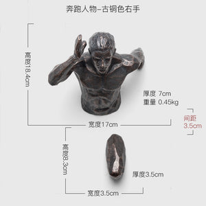 Running Man Racing Against Time Fgurine Creative Statue  Wall Decoration Emboss 3D Figures Wall Hanging Sculpture Ornament - SallyHomey Life's Beautiful