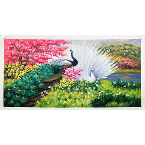 100% Hand Painted Peacock Flower Art Oil Painting On Canvas Wall Art Frameless Picture Decoration For Live Room Home Decor Gift