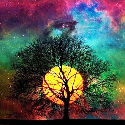 DIY 5D Diamond Painting Landscape Tree Full Round Drill Rhinestones Starry Sky Diamond Embroidery Craft Cross Stitch Home Decor