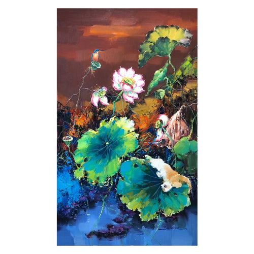 100% Hand Painted Lotus Flower Art Oil Painting On Canvas Wall Art Frameless Picture Decoration For Living Room Home Decor Gift
