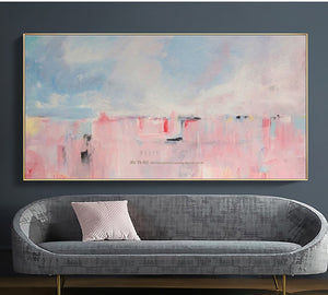 Large abstract painting canvas art decorative painting hand painted canvas oil painting Pink wall pictures for living room - SallyHomey Life's Beautiful