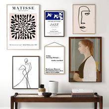 Load image into Gallery viewer, Vintage Abstract Matisse Line Figure Leaf Wall Art Canvas Painting Nordic Posters And Prints Wall Pictures For Living Room Decor - SallyHomey Life's Beautiful