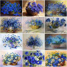 Load image into Gallery viewer, DIY 5D Diamond Painting Cross Stitch Flower Full Round Drill Cornflower Diamond Embroidery Kits Mosaic Rhinestones Home Decor - SallyHomey Life's Beautiful