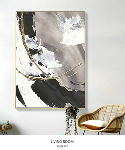 Handmade oil painting on canvas painting abstract wall art for living room black white large decorative pictures for bedroom - SallyHomey Life's Beautiful