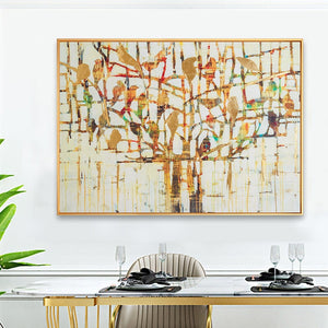 100% Hand Painted Abstract Bird Tree Oil Painting On Canvas Wall Art Frameless Picture Decoration For Live Room Home Decor Gift
