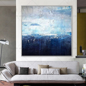 100% Handmade Great Sky Blue Abstract Modern Art Picture For Living Room Modern Cuadros Canvas Art High Quality