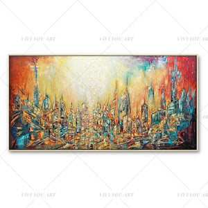 100% Hand Painted Red Dream Yellow City Painting  Modern Art Picture For Living Room Modern Cuadros Canvas Art High Quality