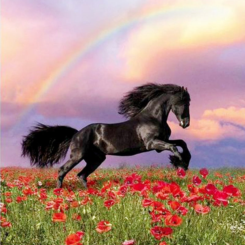 DIY 5D Diamond Painting Horse Anmial Mosaic Cross Stitch Diamond Embroidery Full Round Drill Rhinestones Decor Home Wall Sticker - SallyHomey Life's Beautiful
