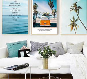 Tropical Sea Palm tree Bus Landscape Wall Art Canvas Poster Nordic Motivational Prints Painting Wall Picture for Living Room - SallyHomey Life's Beautiful