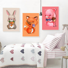 Load image into Gallery viewer, Cartoon Animals Posters and Prints Wall Art Canvas Painting Cute Pig, Bunny, Fox Decorative Paintings for Living Room Home Decor - SallyHomey Life's Beautiful