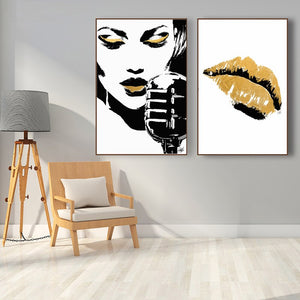 Black And Gold Abstract Canvas Print, People Canvas Art Posters and Prints Wall Glam Rock Decorative Paintings for Living Room - SallyHomey Life's Beautiful