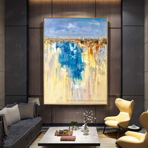 Vintage canvas pictures Abstract painting blue Painting for living room wall lienzos cuadros decorativos landscape salon moderno - SallyHomey Life's Beautiful