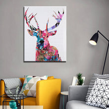 Load image into Gallery viewer, Posters and Print Wall Art Canvas Painting Wall Decoration Colorful Abstract Sika Deer Pictures for Living Room Wall Frameless - SallyHomey Life's Beautiful