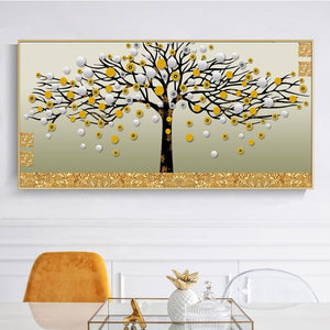 Golden Money Trees Decorative Pictures for Living Room Home Decor No Frame - SallyHomey Life's Beautiful
