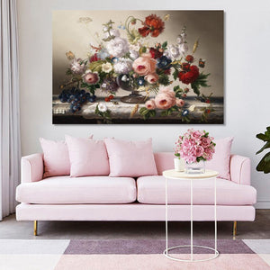 Classic European Still Life Posters and Prints Wall Art Canvas Painting Flowers Arrangement Wall Pictures for Living Room Decor - SallyHomey Life's Beautiful