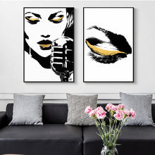 Load image into Gallery viewer, Black And Gold Abstract Canvas Print, People Canvas Art Posters and Prints Wall Glam Rock Decorative Paintings for Living Room - SallyHomey Life's Beautiful