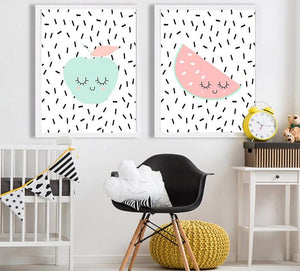 Cute Fruit Apple Banada Wall Art Canvas Posters Nursery Prints Nordic Style Painting Picture Kid Baby Bedroom Decoration - SallyHomey Life's Beautiful