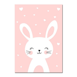 Kawaii Wall Art Canvas Nursery Poster Print Cartoon Cat Rabbit Painting Nordic Kids Decoration Picture Baby Living Room Decor - SallyHomey Life's Beautiful