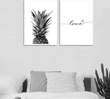 Load image into Gallery viewer, Pineapple Wall Art Canvas Posters Prints Nordic Love Quote Paintings Black White Wall Picture for Living Room - SallyHomey Life's Beautiful