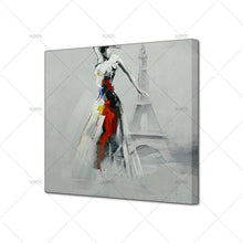 Load image into Gallery viewer, beautiful girl in the Eiffel Tower Oil Paintings on Canvas  picture for Home Decoration chrismas gift - SallyHomey Life's Beautiful