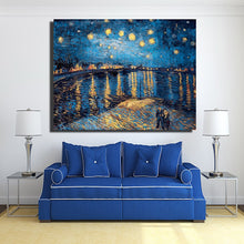 Load image into Gallery viewer, Impressionis Artist Van gogh Starry Sky of The Rhone River Oil Painting on Canvas Wall Art Canvas Picture for Living Room Decor - SallyHomey Life's Beautiful