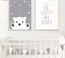 Load image into Gallery viewer, Baby Nursery Wall Art Canvas Poster Print Cartoon Rabbit Bear Painting Nordic Kids Decoration Picture Children Bedroom Decor - SallyHomey Life's Beautiful