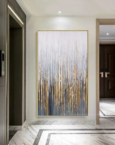 Large wall painting on canvas vertial abstract art decorative pictures for living room wall lienzos cuadros decorativos golden - SallyHomey Life's Beautiful