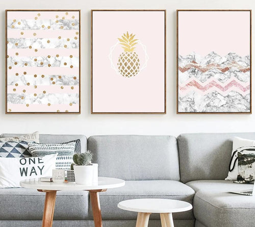 Golden Pineapple Marble Wall Art Posters Nordic Style Prints Abstract Painting Wall Pictures for Living Room Modern Home Decor - SallyHomey Life's Beautiful