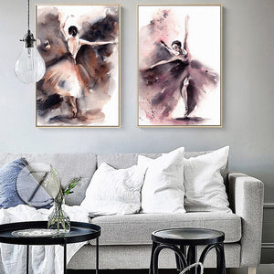 Abstract Watercolor Posters And Prints Wall Art Canvas Painting Dancing Girl Pictures Wall Decor For Living Room Wall Frameless - SallyHomey Life's Beautiful