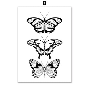 Black White Fashion Girl Lip Butterfly Wall Art Canvas Painting Nordic Posters And Prints Wall Pictures For Living Room Decor - SallyHomey Life's Beautiful