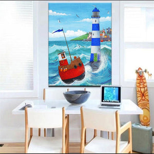 Hand Drawing Oil Painting Lighthouse Guides the Ship in the Sea - SallyHomey Life's Beautiful