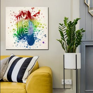 Modern Abstract Oil Painting on Canvas Art Posters and Prints Wall Art Decor Watercolor Zebra Head Pictures for Living Room Wall - SallyHomey Life's Beautiful