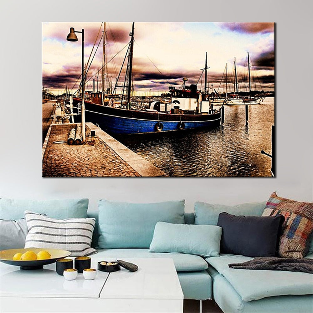 Landscape Posters and Prints Wall Art Canvas Painting Classic Abstract Boat in The Bay Pictures for Living Room Wall Home Decor - SallyHomey Life's Beautiful