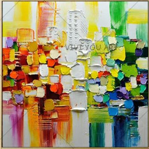 100% Handmade Canvas Oil Paintings Modern Abstract Palette Knife Oil Painting On Canvas Wall Picture For Living Room Home Decor - SallyHomey Life's Beautiful