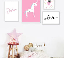 Load image into Gallery viewer, Cartoon Unicorn Flamingo Nursery Posters Prints Wall Art Canvas Painting Picture Nordic Kids Bedroom Decoration - SallyHomey Life's Beautiful