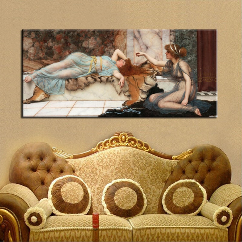 Posters and Prints Wall Art Canvas Painting Mischief and Repose by John William Waterhouse Wall Pictures for Living Room Decor - SallyHomey Life's Beautiful