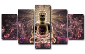 Posters and Prints Wall Art Canvas Painting 5Panels The Buddha Light Illuminating Wall Pictures for Living Room Home Decoration - SallyHomey Life's Beautiful