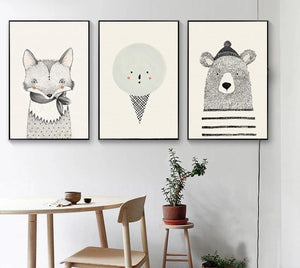 Nordic Art Bear Fox Canvas Poster Painting Cartoon Animal Wall Picture Print Children Baby Room Decoration - SallyHomey Life's Beautiful