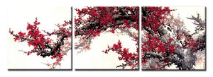 Traditional Chinese Wall Art Decoration Canvas Painting 3Panels Wintersweet Pictures for Living Room Wall Printed Posters - SallyHomey Life's Beautiful