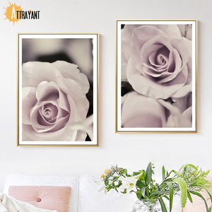 Fresh Pink Flowers Rose Plant Wall Art Canvas Painting Nordic Posters And Prints Wall Pictures For Living Room Bedroom Decor - SallyHomey Life's Beautiful