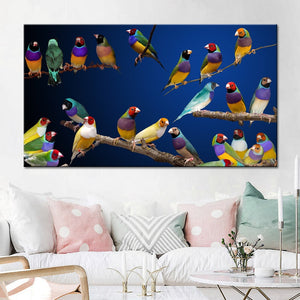 Artistic Tinted Bird on Branches Wood Landscape Oil Painting on Canvas Wall Art Poster Print Wall Pictures for Living Room Decor - SallyHomey Life's Beautiful