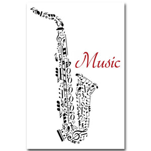 Jazz Music Instrument Minimalist Art Canvas Poster Prainting Guitar Violin Black White Picture Print Home Room Decoration - SallyHomey Life's Beautiful