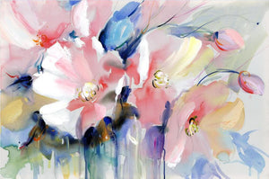 Modern Watercolor Flowers Wall Painting Hand Painted Poppy Flowers - SallyHomey Life's Beautiful